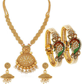 Sukkhi Peacock Gold Plated Necklace Set & Kada Combo For Women