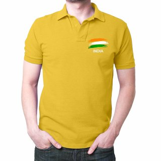 Eysom India Flag Cotton Black Polo T-Shirt  Patriotic T-Shirt  Proud Indian T-Shirt