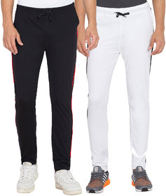 Cliths Men's Black, White Slim Fit Cotton Solid Trackpants (Pack Of 2)