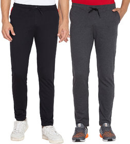 Cliths Men's Pack Of 2 Solid Cotton Sports Jogger (Dark Grey, Black)