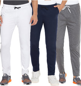 Cliths White, Dark Grey And Navy Blue Slim Fit Solid Cotton Track Joggers for Men (Pack Of 3)