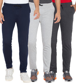 Cliths Men's Light Grey, Navy Blue And Dark Grey Combo Pack Of 3 Cotton Casual Track Pants