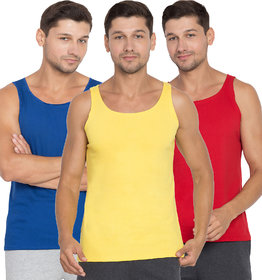 Cliths Men's Combo Pack Of 3 Cotton Round Neck Stylish Running Vest Yellow, Royal Blue And Red