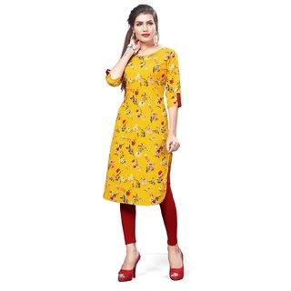 Women Yellow Full Stitch Pathani Style Straight Crep Digital Stitched Print Kurti By New Ethnic 4 You