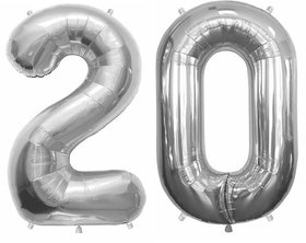 Utkarsh Solid Silver Color 2 Digit Number (20) 3d Foil Balloon for Birthday Celebration,Anniversary Parties