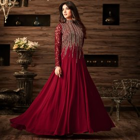 Monika Silk Mill Women's Georgette Embroidered Semi-Stitched Party Wear Gown-Maroon ColorM1GN4806