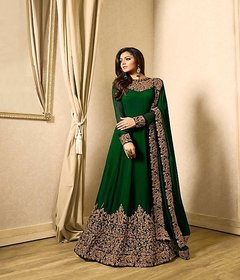 Monika Silk Mill Women's Georgette Embroidered Semi-Stitched Party Wear Gown-Green ColorM2GN1701G