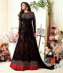 Monika Silk Mill Women's Georgette Embroidered Semi-Stitched Wedding collection Gown-Black ColorM10GN1003