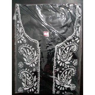 Colonial Lucknowi Chikan Regular Wear Cotton Kurta Kurti Black color with White kadhai