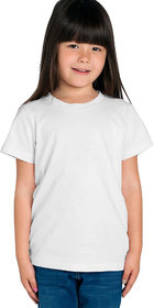 Cliths Girl's 100% Cotton White Solid Regular Fit T-Shirt