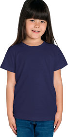 Cliths Girl's Navy Blue Solid Cotton T-Shirt for Everyday