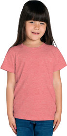 Cliths Girl's Orange Solid Cotton T-Shirt for Everyday