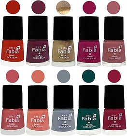 Fabia Nail PolishPremium Collection Pack of 10 Multicolor 01