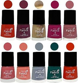 Fabia Nail PolishPremium Collection Pack of 10 Multicolor 02