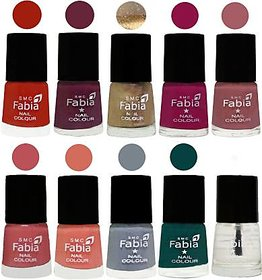 Fabia Nail PolishPremium Collection Pack of 10 Multicolor 03