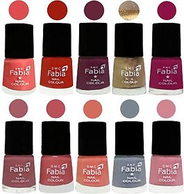 Fabia Nail PolishPremium Collection Pack of 10 Multicolor 04