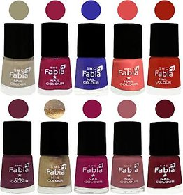 Fabia Nail PolishPremium Collection Pack of 10 Multicolor 05