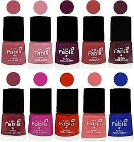 Fabia Nail PolishPremium Collection Pack of 10 Multicolor 07