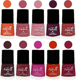 Fabia Nail PolishPremium Collection Pack of 10 Multicolor 09