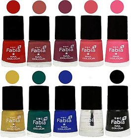 Fabia Nail PolishPremium Collection Pack of 10 Multicolor 10