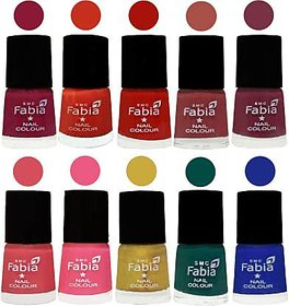 Fabia Nail PolishPremium Collection Pack of 10 Multicolor 12