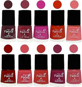 Fabia Nail PolishPremium Collection Pack of 10 Multicolor 15