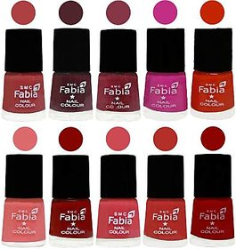 Fabia Nail PolishPremium Collection Pack of 10 Multicolor 16