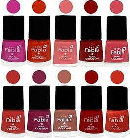 Fabia Nail PolishPremium Collection Pack of 10 Multicolor 19