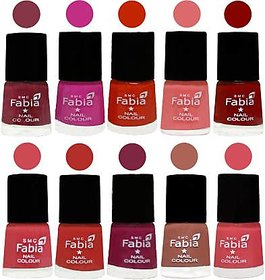 Fabia Nail PolishPremium Collection Pack of 10 Multicolor 21