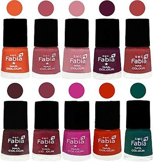 Fabia Nail PolishPremium Collection Pack of 10 Multicolor 08