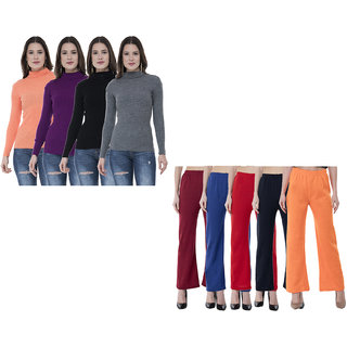 IndiWeaves Women Wint6er Super Warm Full Sleeves High Neck Skivvy and Woolen Palazzo (Pack of 9)