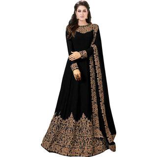 Saadhvi Black Faux Georgette Embroidered Semi Stitched Gown