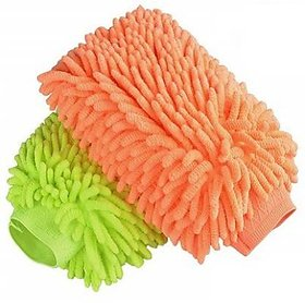 Double Sided Microfiber Hand Gloves Car Window Washing Kitchen Dust Cleaning Glove Assorted ColorsPack Of 2