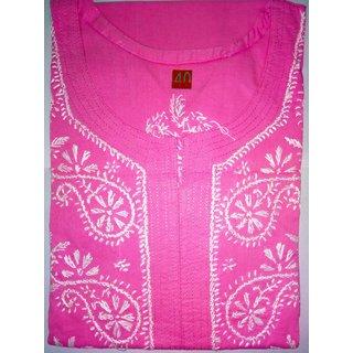 Colonial Lucknowi Chikan Regular Wear Cotton Kurta Kurti Pink color with White kadhai