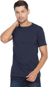 Cliths Navy Blue Cotton Solid Tshirt For Men