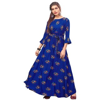 Women Printed Full Stitched  American Crepe Floor Length Anarkali Gown