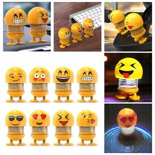 Spring Cute Smiley Doll Car Ornament Interior Dashboard Decor Bounce Toys, Romantic and Sweet Atmosphere to Your Car Life-Pack of 6