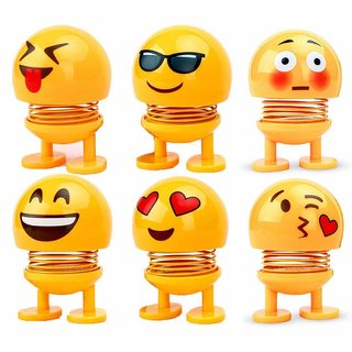 Eastern Club Spring Cute Smiley Doll Car Ornament Interior Dashboard Decor Bounce Toys, Romantic and Sweet Atmosphere to Your Car Life-Pack of 6