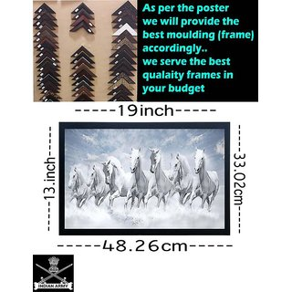 VSA OLLIVANDERS Beautiful 7 Running Horses Vastu Synthetic wood (Its not PLASTIC) Framed