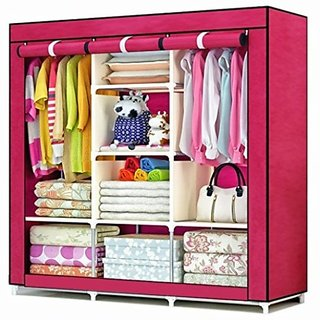 RBSHOPPY 8 Shelfs 2 Hangers wrought iron foldable Wardrobe Wrought iron structure and Fabric cover cloth