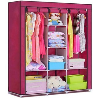 Rbshopy 8 shelfs 2 hangers wrought iron structure wardrobe with non woven fabric cloth cover and shelfs