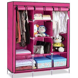 rbshoppy 8 Shelfs 2 Hanger Folding Collapsible Wardrobe Printed for Storage and Organiser with Wrought Iron Structure