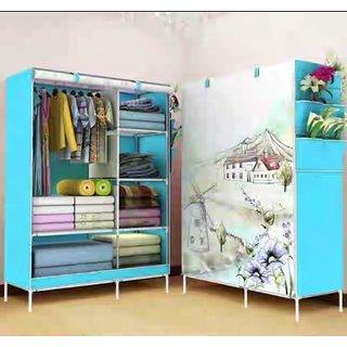 RBSHOPPY D6 wardrobe folding 6 shelfs 1 hanger wrought iron structure and fabric cloth cover (random print shipping )