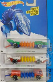 HOT WHEELS Mutant STREET SHARK (2 PCS) + POWER TREAD Machine Vehicle  ( Set of 3)