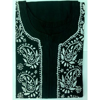 Colonial Lucknowi Chikan Regular Wear Cotton Kurta Kurti Black color with White kadhai