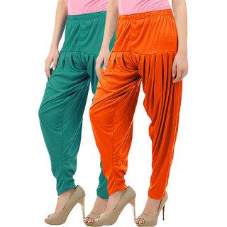 Women's Cotton Viscose Lycra Dhoti Patiyala Salwar Harem Bottoms Pants Ramar Green Light Orange Combo Pack of 2