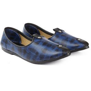 Bxxy Men's Blue Faux Leather Stylish Jutti's  Nagra's and Mojari's