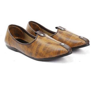 Bxxy Men's Brown Faux Leather Stylish Jutti's  Nagra's and Mojari's