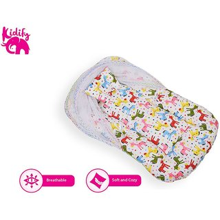 Kidify Reversible Baby Bedding Set With Bolster Pillows- Flip, sleep, repeat (Large 6-12 Months)