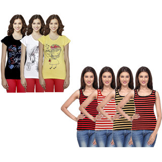 IndiWeaves Women Cotton Printed Tank Top and Half Sleeves T-Shirts (Pack of 7)